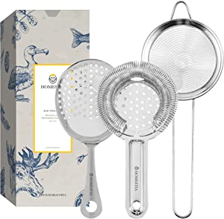 Homestia Bar Strainer Set of 3 Cocktail Strainer Include Hawthorne Strainer, Fine Mesh Strainer, Julep Strainer