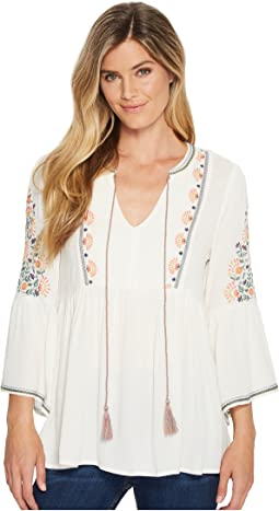 Miss Me Floral Embroidered Bell Sleeve Blouse