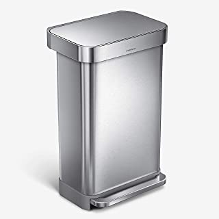 simplehuman 45 Liter Rectangular Hands-Free Kitchen Step Rubbish Bin with Soft-Close Lid, Brushed Stainless Steel
