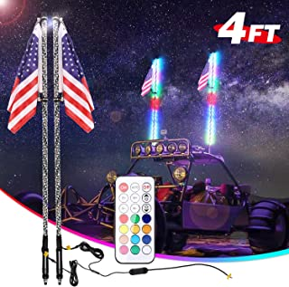 LED Whip Lights, 2 Pack AKD Part 4FT RF Remote Control with Flag UTV Antenna Light Chasing Light RGB Off Road Neon Light LED Whips for ATV Jeep RZR Yamaha Sand Dune