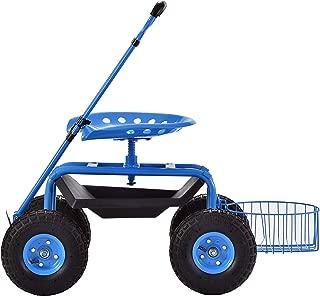 Muscle Carts DRGS331722-BLUE Deluxe Rolling Garden Stool Blue