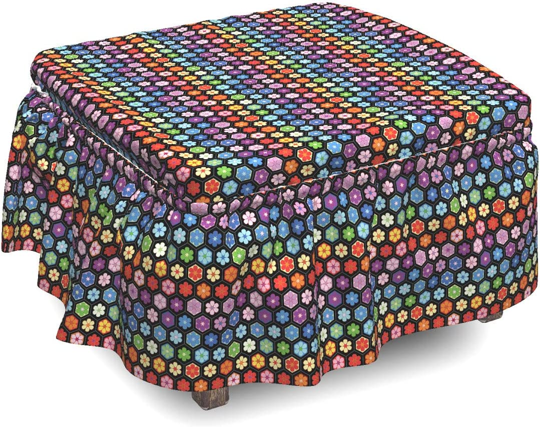Ambesonne Flower Ottoman Surprise price Cover Colorful S Blooms Piece Daisy 2 1 year warranty