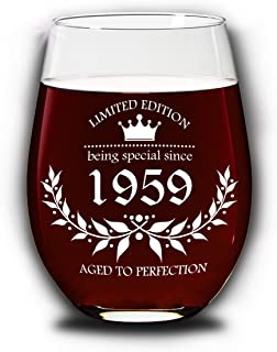 Funscinating Gifts | 60th Birthday Gifts for Women, Men | Unique Birthday Gift Ideas | Birthday Party Ideas | Birthday Party Decorations 15 oz Hand Made Wine Glasses (1959 60th)
