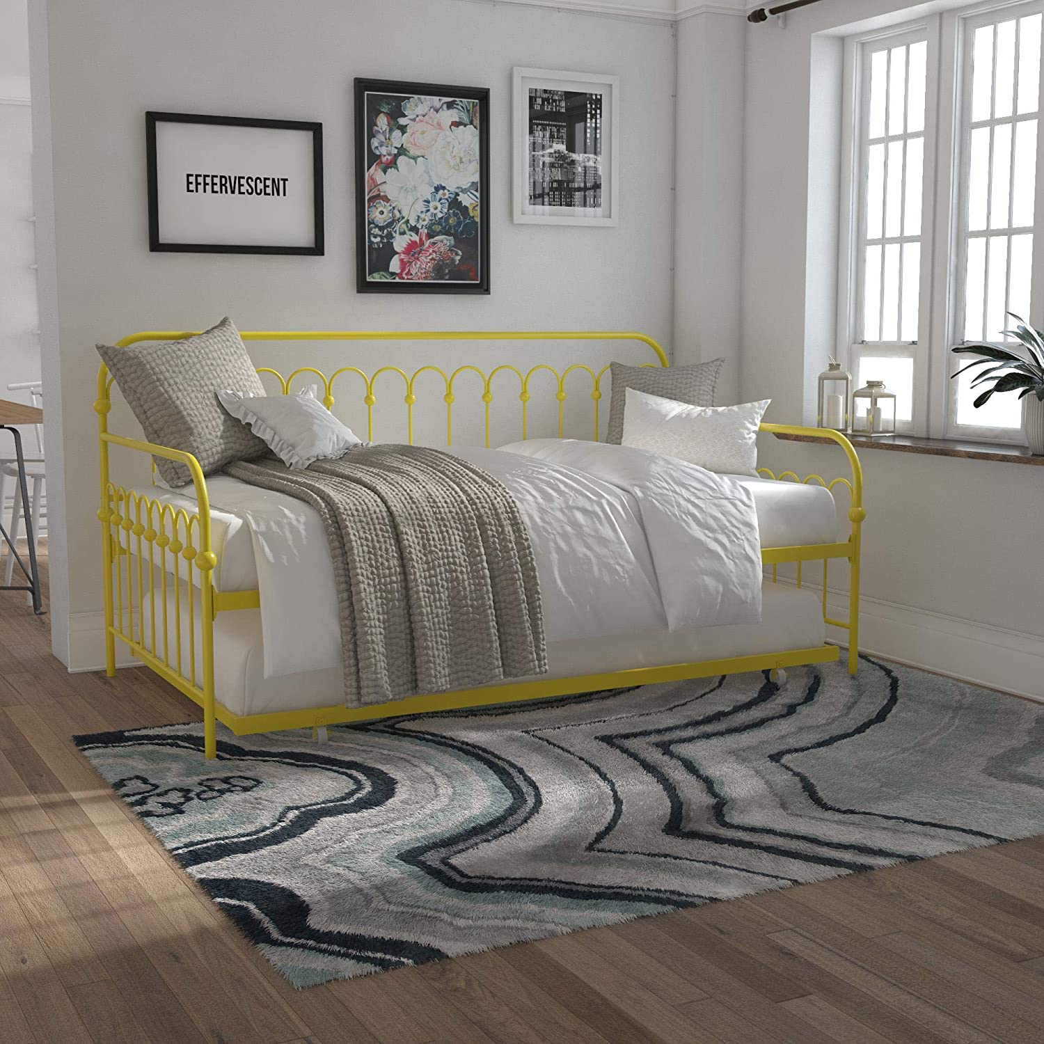 Novogratz Bright Pop Metal Roll Daybed 67% OFF of Max 73% OFF fixed price Out Yellow Trundle