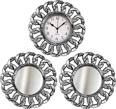 TIED RIBBONS Decorative Plastic Wall Clock with Mirrors (Silver, 25 cm x 25 cm)
