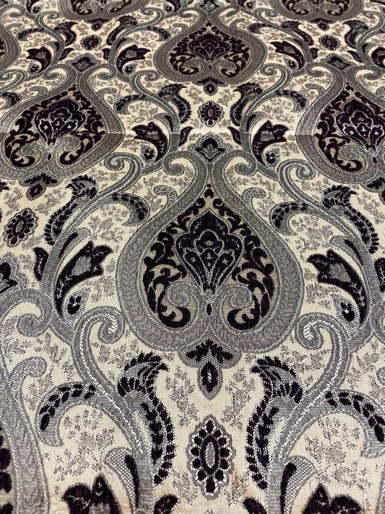 Luvfabrics Monica Damask Chenille Antique Furniture Upholstery Drapery Decor Fabric by The Yard (Black Silver)