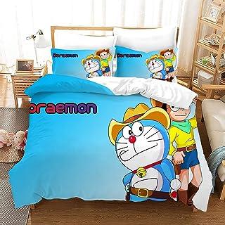 De Doraemon Serie 2, 6 patrones de colchas de impresión en 3D fijan el hogar Ropa de cama, conjuntos de Easy Clean microfibra de poliéster funda nórdica con cremallera, for Sala 3 piezas 1 cubierta de