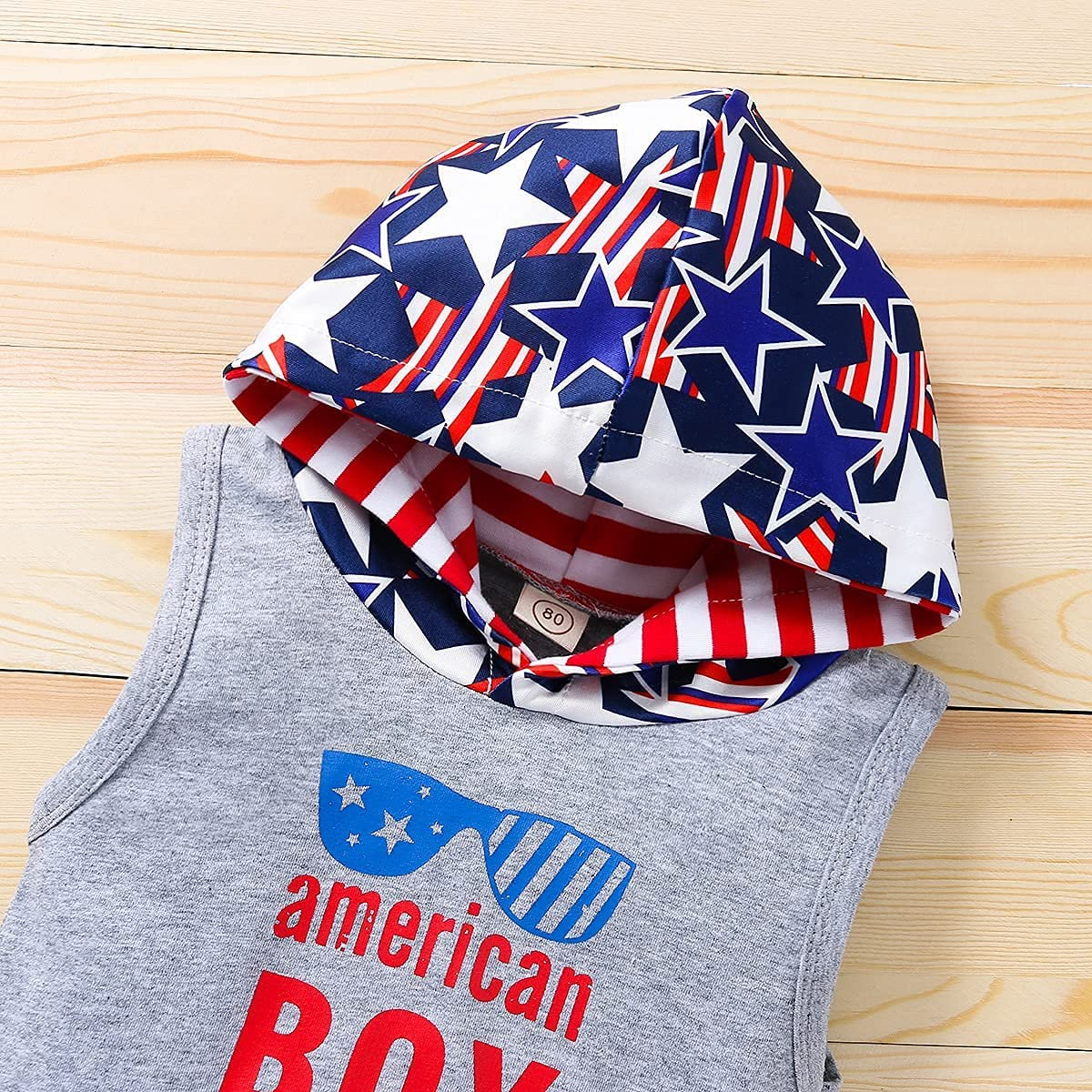 POPOLAR Baby Boys 4th of July Shorts Set Sleeveless American Flag Hoodie + Striped Shorts 2pcs Independence Day Outfits