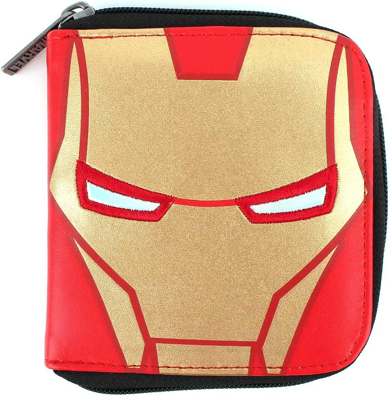 WINGHOUSE x MARVEL Avengers Iron Man Face Bifold Zippered Wallet Card Coin Holder Organizer