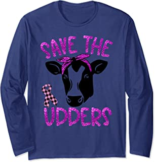 Save The Udders Cow Lady Plaid Ribbon Breast Cancer Support  Long Sleeve T-Shirt