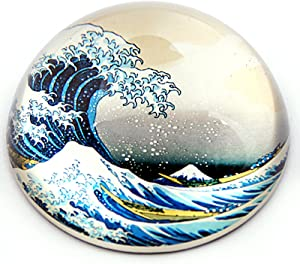 """Parastone - Half Dome Glass Paperweight - Hokusai the Wave - 3"""" x3"""" x 1.5"""" H Inches"""