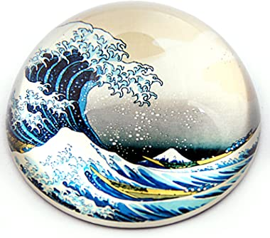 "Parastone - Half Dome Glass Paperweight - Hokusai the Wave - 3"" x3"" x 1.5"" H Inches"