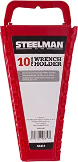 Steelman Universal 10-Tool Wrench Holder/Organizer for Mechanics, Conforming Slots, Handle for Carrying or Hanging Garage Storage, Red