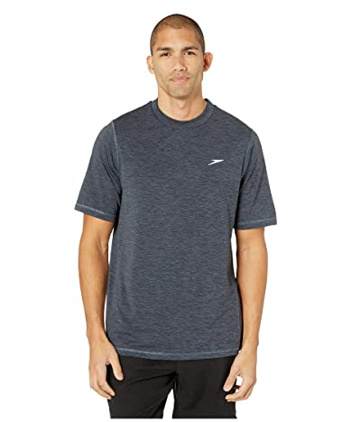 Speedo Space Dye Short Sleeve Swim Tee (Speedo Black) Men