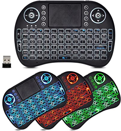 2.4GHz Wireless LED Colorful Backlit Mini Keyboard with Mouse Touchpad and Multimedia Keys for PC