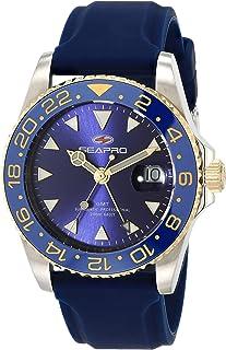 Seapro Men's Agent Stainless Steel Quartz Rubber Strap, Blue, 20 Casual Watch (Model: SP0124)