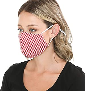 Washable Linen Face Mask Made in USA, Summer Red Checker