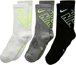 Nike Kids - Performance Cushioned Lycra® Crew Training Socks 3-Pair Pack (Little Kid/Big Kid)