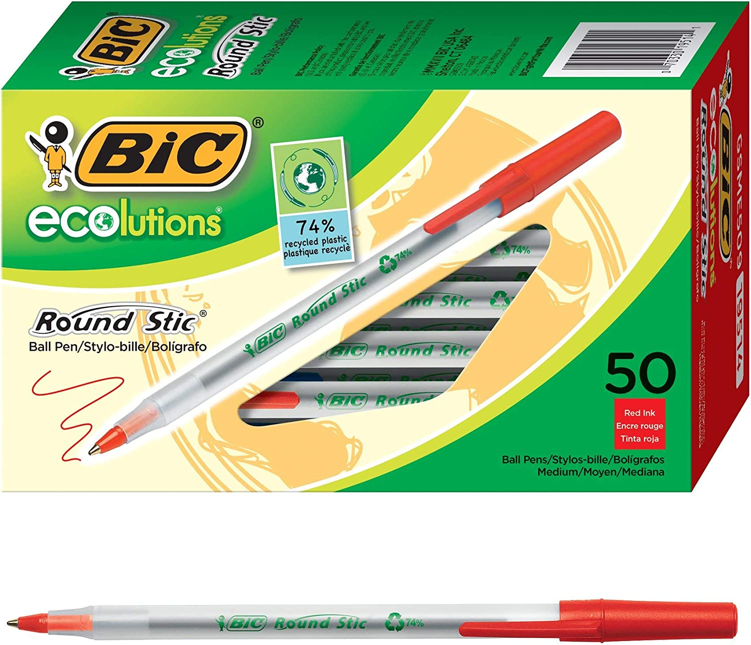 New Medium Point 1.0mm 50-Count Red Ecolutions Round Stic Ballpoint Pen