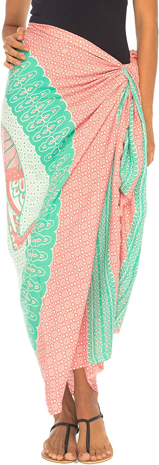 SHUSHI Womens Beach Swimsuit Cover Up Sarong Wrap Elephant with Coconut Clip