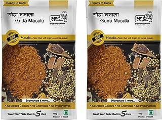 Dhanashree Gruha Udyog (Mumbai) Instant Goda Masala, Vegetable and Curries Spice Mix, Ready to use Indian Curry Powder, Maharashtrian Recipe, (Pack of 2) - 100 grams each