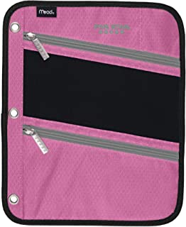 Five Star Zipper Pouch, Pencil Pouch, Pen Holder, Fits 3 Ring Binders (Pink/Grey)