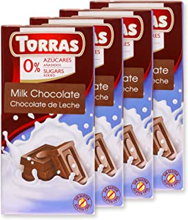 Torras Sugar Free and Gluten Free Dark Chocolate Bar - Low. Carb. Milk Chocolate (4 Pack)