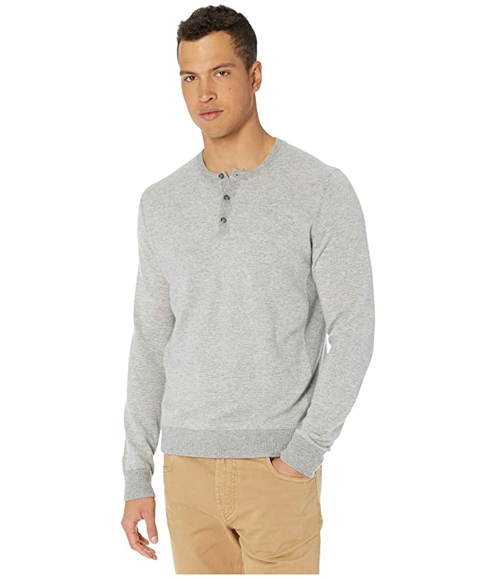 Vince  Birdseye Henley Light Sweater (Heathered Grey/Pearl) Mens Clothing