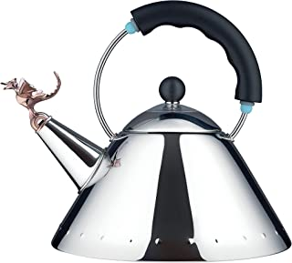 Alessi | Tea Rex 9093REX B - Design Kettle with Handle and Dragon-Shaped Whistle, Stainless Steel, Black