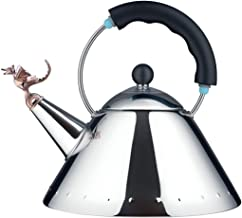Alessi   Tea Rex - Design Kettle with Handle and Dragon-Shaped Whistle, Stainless Steel, Black