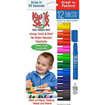 Pencil Grip Kwikstix Thin Stix Solid Tempera Paint, Super Quick Drying, 12 Classic Colors (TPG-608) Paint,Assorted classic.