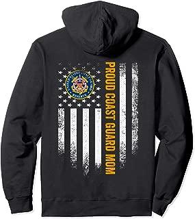 Vintage USA Proud US Coast Guard Mom American Flag Patriotic Pullover Hoodie
