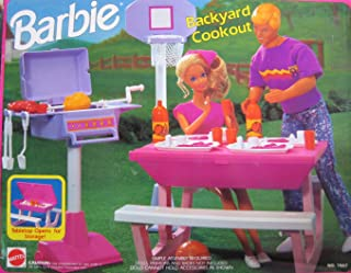 Barbie BACKYARD COOKOUT Playset - Back Yard Cook Out w Picnic Table, Basketball Set, Barbecue & MORE! (1992 Arcotoys, Mattel)