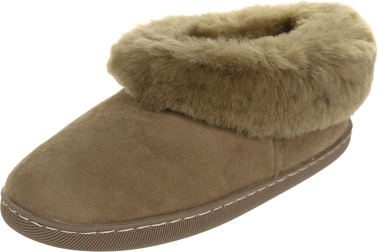 Vogar Womens Furry Leather Slippers VG-33 Sheep Wool Lined