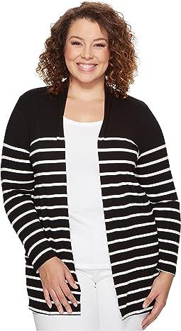 Plus Size Long Sleeve Clipper Stripe Panel Cardigan