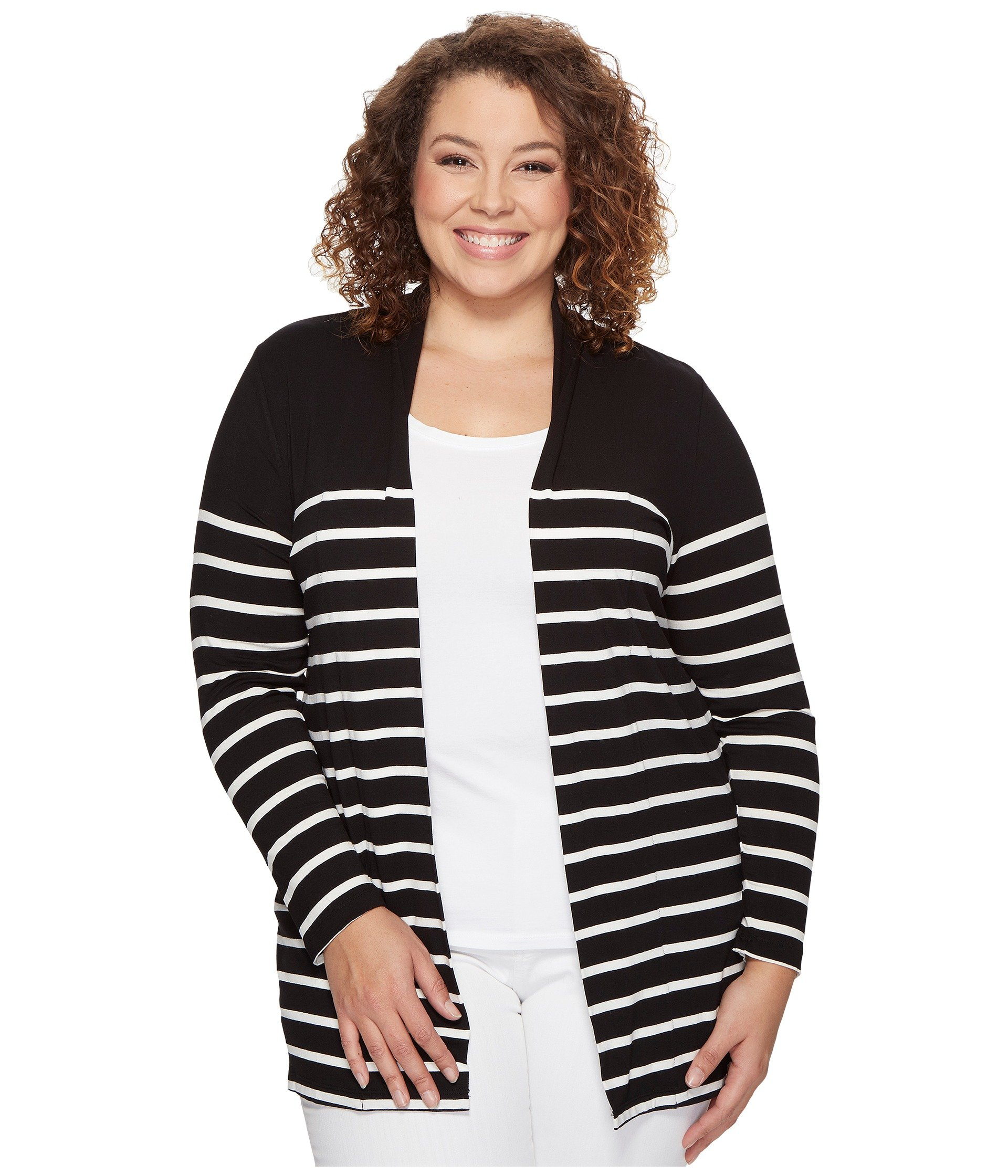 Saco para Mujer Vince Camuto Specialty Size Plus Size Long Sleeve Clipper Stripe Panel Cardigan  + Vince Camuto en VeoyCompro.net