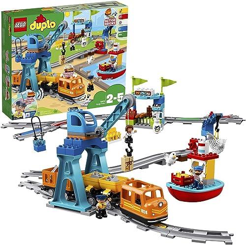 LEGO 10875 Duplo Le Train De Marchandises, Jeu avec Son Et Lumière, Grue avec télécommande Jouet pour Enfant 2-5 Ans