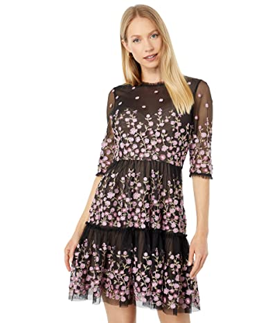 BCBGMAXAZRIA Embroidery on Tulle Cocktail Dress
