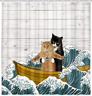 Funny Cat Shower Curtain, Cute Pet Kitten Couple in Nautical Ship Japan Ocean Waves on Rustic Wooden Board Shower Curtain ...