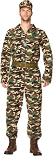 Army Soldier Costume - Halloween Mens Military Camo Jumpsuit, Belt, Hat