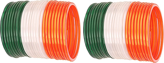 NMII Tri Colour (Orange/White/Green) Tiranga Bangles for Independence Day Plain & Glossy Glass Bangles for Women & Girls