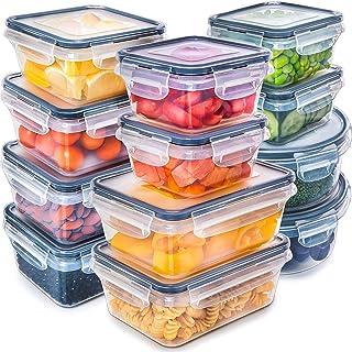 [12 بسته] مخازن ذخیره سازی مواد غذایی با درب - ظروف پلاستیکی مواد غذایی با درب - ظروف پلاستیکی با درب - ضد انفجار هوای فشرده Snap Lock و BPA پلاستیکی ظروف پلاستیکی برای استفاده از آشپزخانه