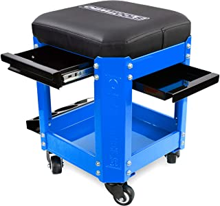 OEMTOOLS 24996 Blue Rolling Workshop Mechanics Creeper Seat with 2 Tool Storage Drawers Under Seat, Parts Storage, & Can H...
