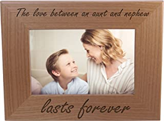 The Love Between an Aunt and Nephew lasts forever - 4x6 Inch Wood Picture Frame - Great Gift for Birthday, or Christmas Gift for Aunts, Sisters
