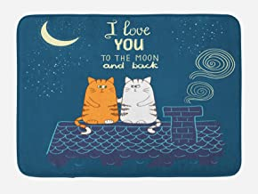 Ambesonne I Love You Bath Mat, Love Cats on The Roof Under Night Sky Moon Stars Caricature Kitty Image, Plush Bathroom Decor Mat with Non Slip Backing, 29.5