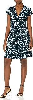 Lark & Ro Amazon Brand Women's Cap Sleeve Deep V Neck Fit and Flare Dress