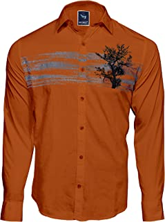 Men`S Designed Printed Casual Dark Orange COTTION Shirts
