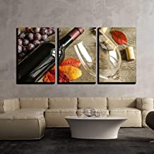 wall26-3 Piece Canvas Wall Art - Red Wine - Modern Home Decor Stretched and Framed Ready to Hang - 16