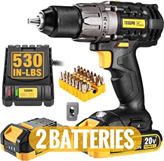 """Best Cordless Drill, 20V Drill Driver 2x2000mAh Batteries, 530 In-lbs Torque, 24+1 Torque Setting, Fast Charger 2.0A, 0-1700RPM Variable Speed, 33pcs Accessories, 1/2"""" Metal Keyless Chuck, TECCPO Review"""