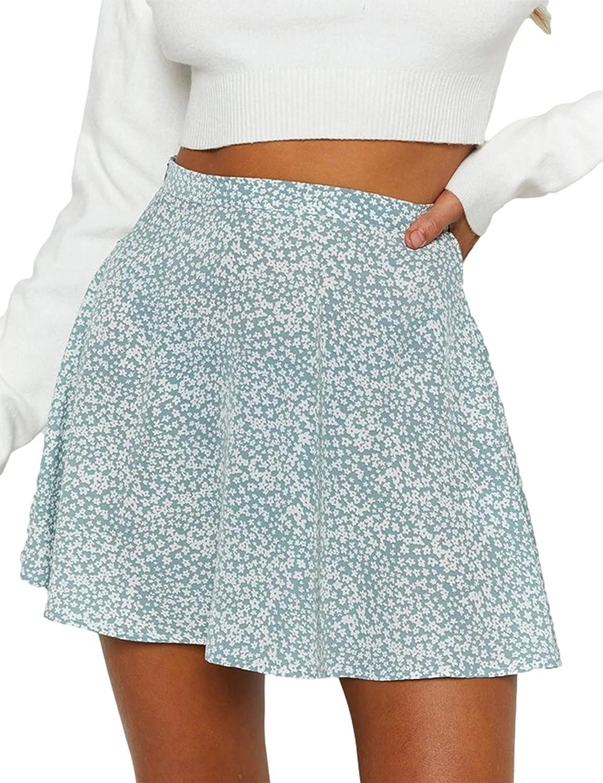 Uaneo Womens Printed High Waist A Line Casual Mini Skater Skirts(Blue-L)